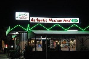 Javi's Mexican Restaurant in Turlock, CA at night